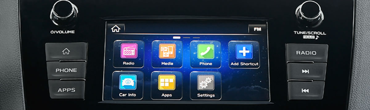 Subaru 3rd generation AM/FM/MP3/WMA infotainment system with a 6.5-inch, high-resolution touchscreen